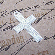 C.1930 FRENCH Hand Carved Mother of Pearl Crucifix/Cross!