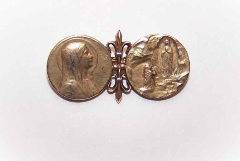C.1910 FRENCH FIX Pin/Brooch - Saint Bernadette & the Virgin Mary!
