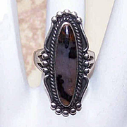Wonderful 1970s STERLING SILVER & Mottled Agate Ring!