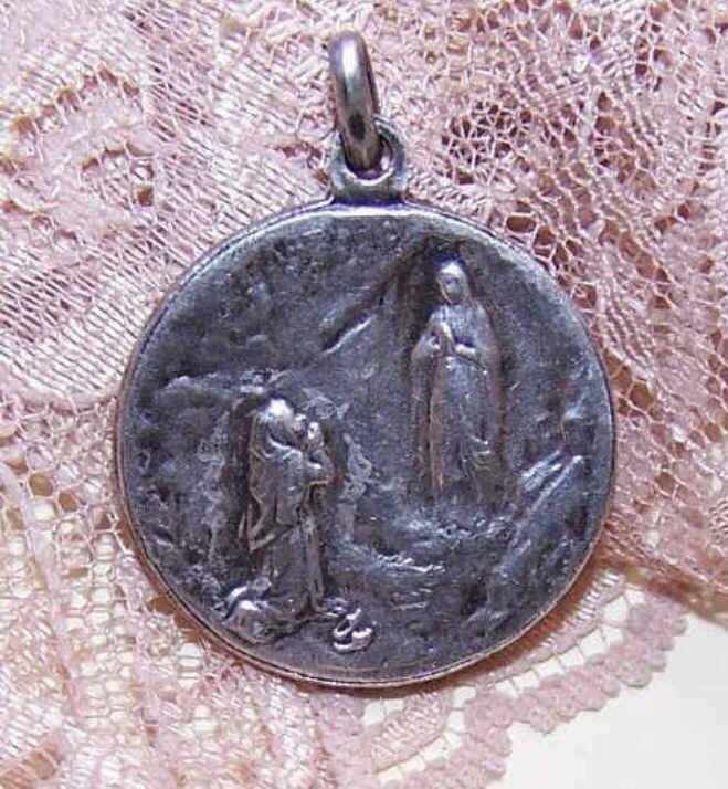 FRENCH Silverplate Religious Medal/Pendant - Saint Bernadette & Virgin Mary!
