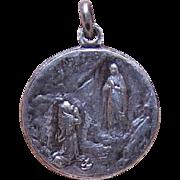 FRENCH Silverplate Religious Medal/Pendant - Saint Bernadette & Virgin Mary!