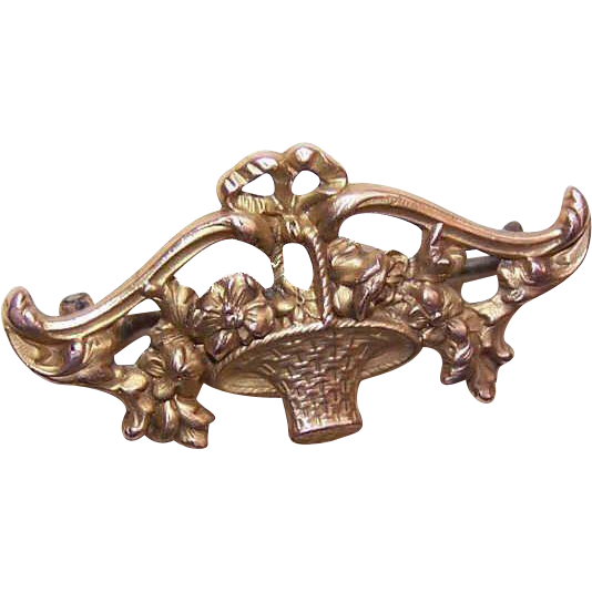 "ART NOUVEAU French Fix/18K Gold Filled ""Basket of Flowers"" Pin/Brooch!"