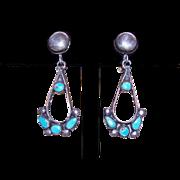 Vintage ZUNI Sterling Silver & Turquoise Earrings!