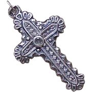 Antique Edwardian FRENCH SILVER Religious Cross Pendant with Stanhope
