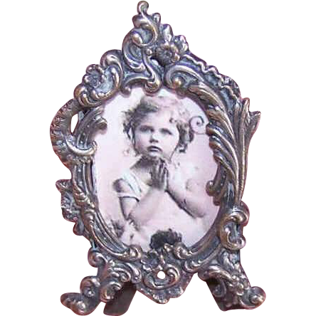 ART NOUVEAU French Silver Miniature Picture Frame//Photo Frame!