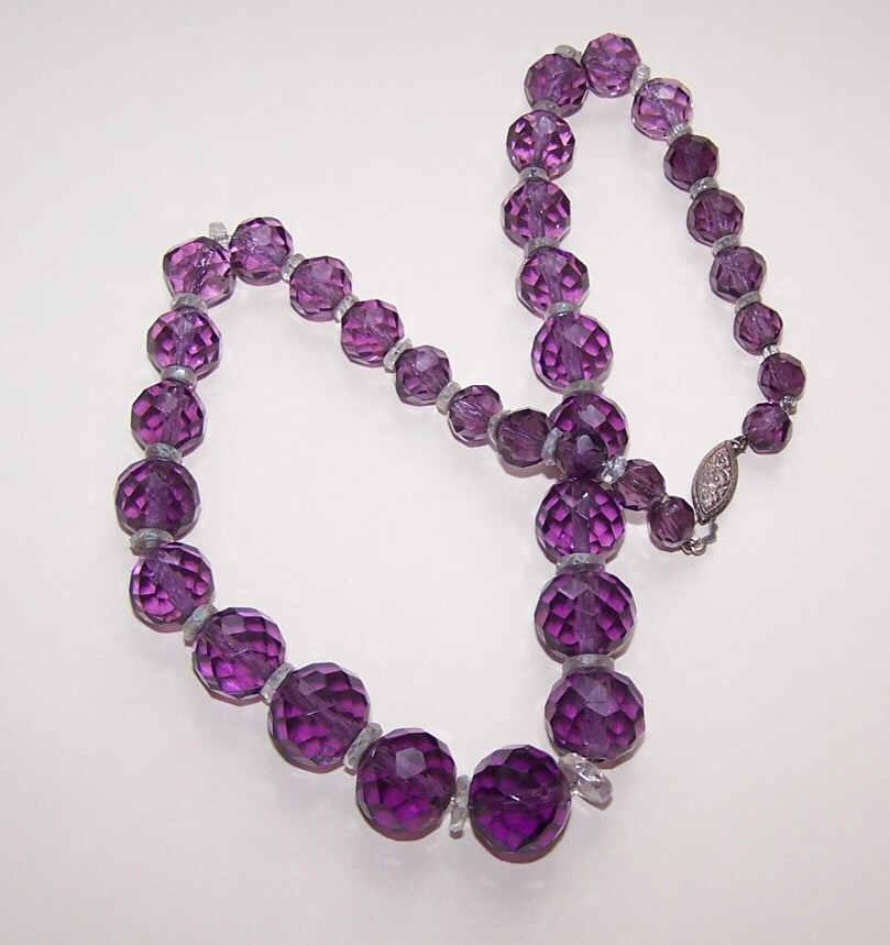 ART DECO Faceted Amethyst Crystal Bead & Sterling Silver Necklace!