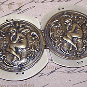 ART DECO Celluloid & Brass Metal 2-Part Buckle - Seated Cupid/Angel/Putti!