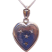 Lovely C.1910 Sterling Silver & Rhinestone Heart Locket - From Mother & Dad!