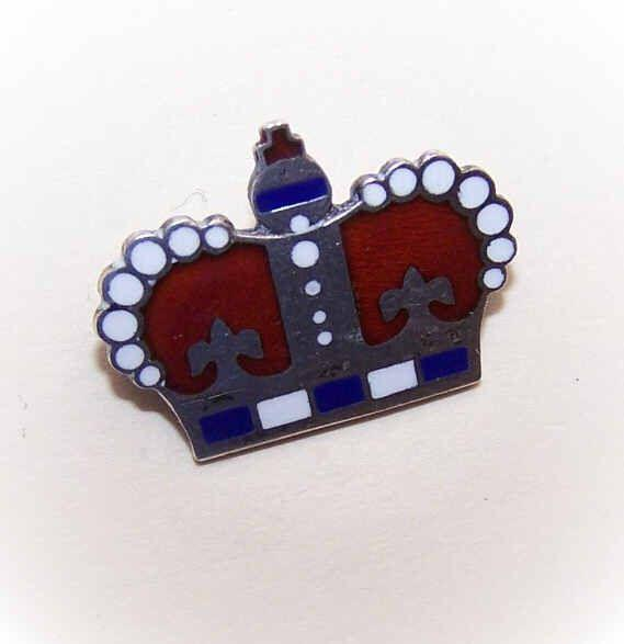 Vintage STERLING SILVER & Enamel Pin/Brooch - Royal Crown!
