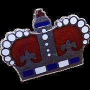 Vintage STERLING SILVER & Enamel Pin/Brooch - Royal Crown!