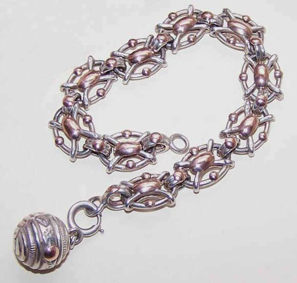 ANTIQUE FRENCH 800 Silver & Rose Gold Link Bracelet with Breloque (Ball Charm)!