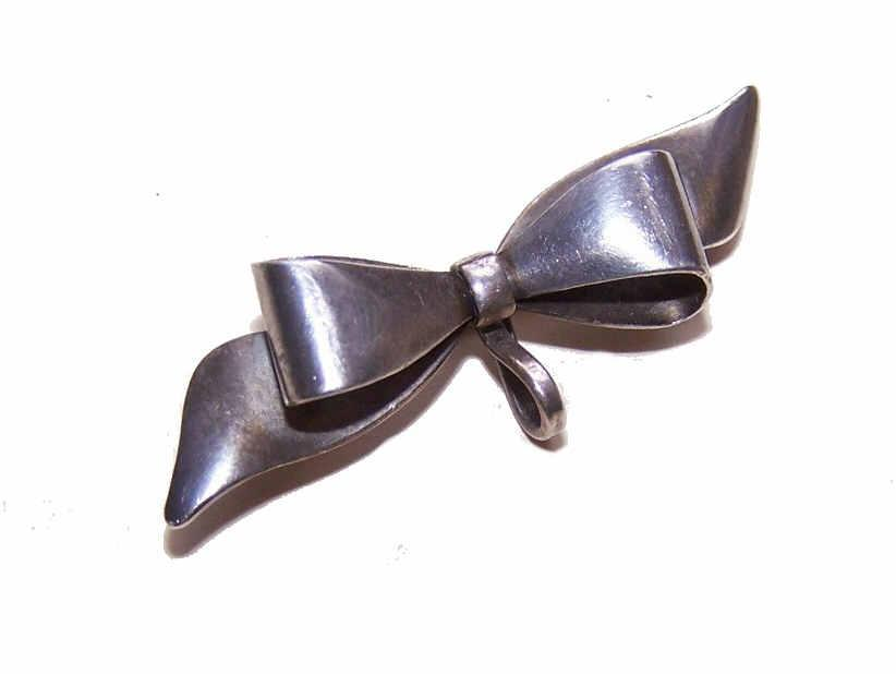 Vintage STERLING SILVER Bow Watch Pin/Brooch!