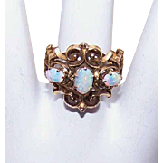 Victorian Revival 14K Gold & Opal Cocktail Ring!