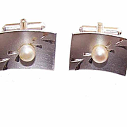 1950s STERLING SILVER & Cultured Pearl Cufflinks/Cuff Links!