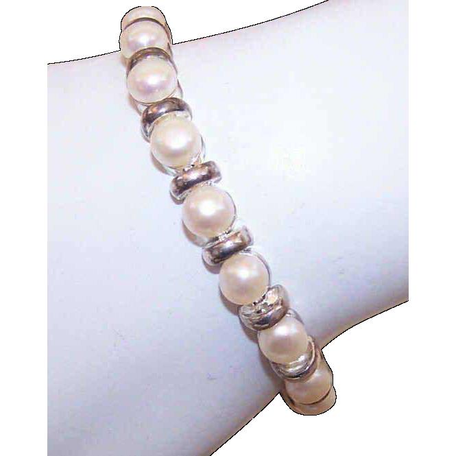 Vintage STERLING SILVER & Freshwater Pearl Link Bracelet!