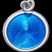 C.1900 FRENCH SILVER & Enamel Religious Medal - Saint Theresa!
