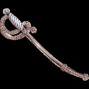ANTIQUE VICTORIAN 14K Gold, Enamel, .10CT Diamond & Natural Pearl Sword Pin/Brooch!