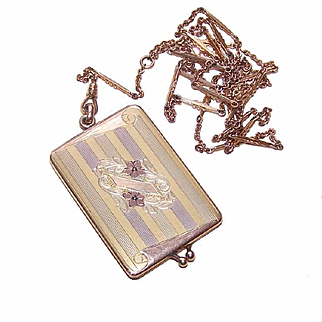 GORGEOUS Antique Edwardian Gold Filled Locket Pendant on Long Chain (Signed)!