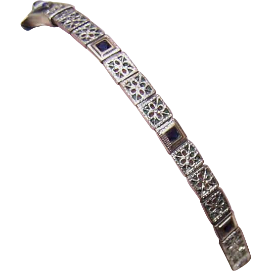 ART DECO Silverplate & Blue Rhinestone Watch Strap!
