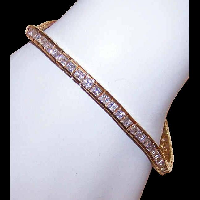 Vintage Sterling Silver Vermeil & 9.60CT TW CZ Tennis Bracelet!