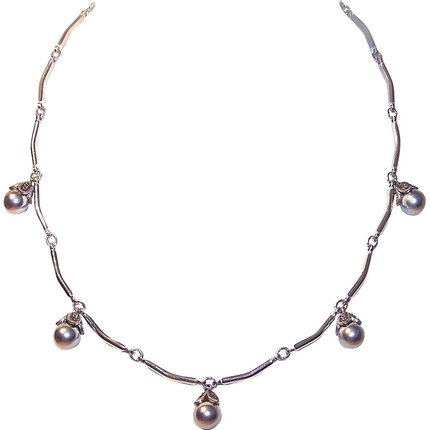 Vintage STERLING SILVER, Marcasite & Faux Pearl Necklace!
