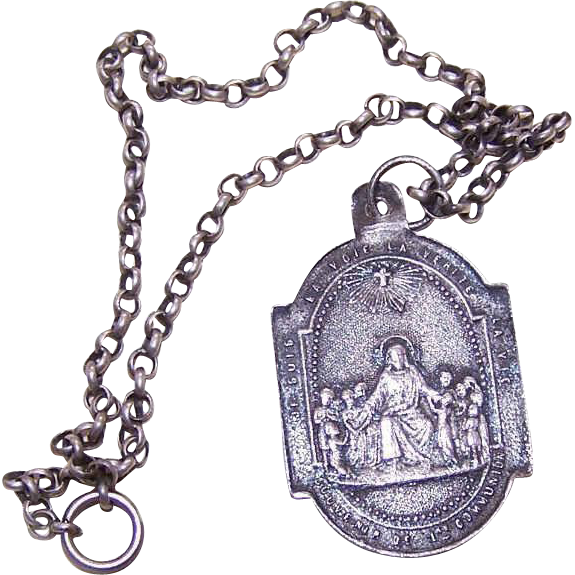 Dated 1890 FRENCH SILVER First Communion Medal/Pendant with Chain!
