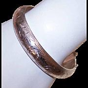 Vintage STERLING SILVER Etched Bangle Bracelet - 19.9 Grams!