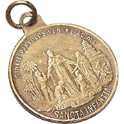 C.1900 Gold Tone Religious Medal - Bringing Christianity to Africa & Asia!