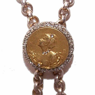 French ART NOUVEAU 18K Gold & Rose Cut Diamond Necklace Slide/Enhancer!