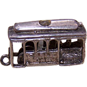 Vintage STERLING SILVER Charm - San Francisco Trolley with Stanhope!