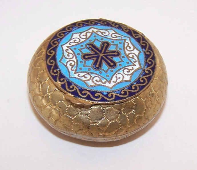 EDWARDIAN Gilt Brass & Enamel Rosary Container/Rosary Holder/Decorative Box!