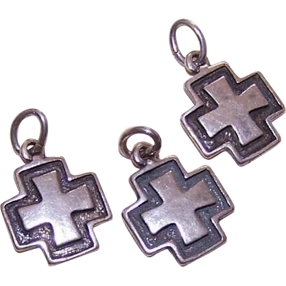 Trio of Vintage STERLING SILVER Maltese-Like Cross Charms!