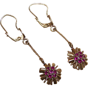 ART DECO 18K Gold & Ruby Drop Earrings!
