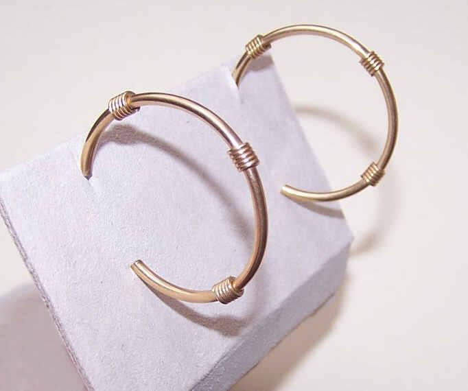 VINTAGE 14K Gold Hoops with Wire Wrapping (Pierced)!