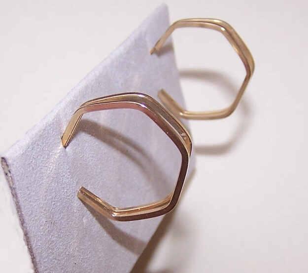 VINTAGE 14K Gold Hoops - Slightly Squared Design!