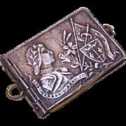 C.1900 FRENCH Silverplate Souvenir Album Pendant - Joan of Arc!