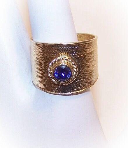 Vintage STERLING SILVER Vermeil & Amethyst Cigar Band Ring!