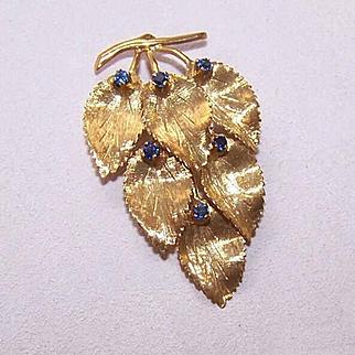 Vintage 18K Gold & Sapphire Pin/Brooch - Falling Leaves!