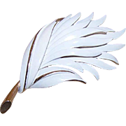 Vintage MONET Gold Tone & White Enamel Leaf Pin!