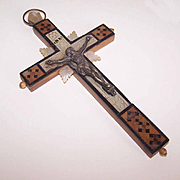 Vintage Olive Wood, Mother of Pearl & Ebony Crucifix from Jerusalem!