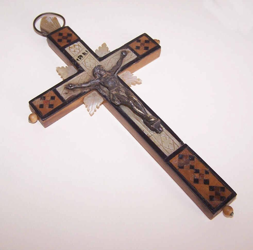 Vintage Olive Wood, Mother of Pearl & Ebony Crucifix from Jerusalem!