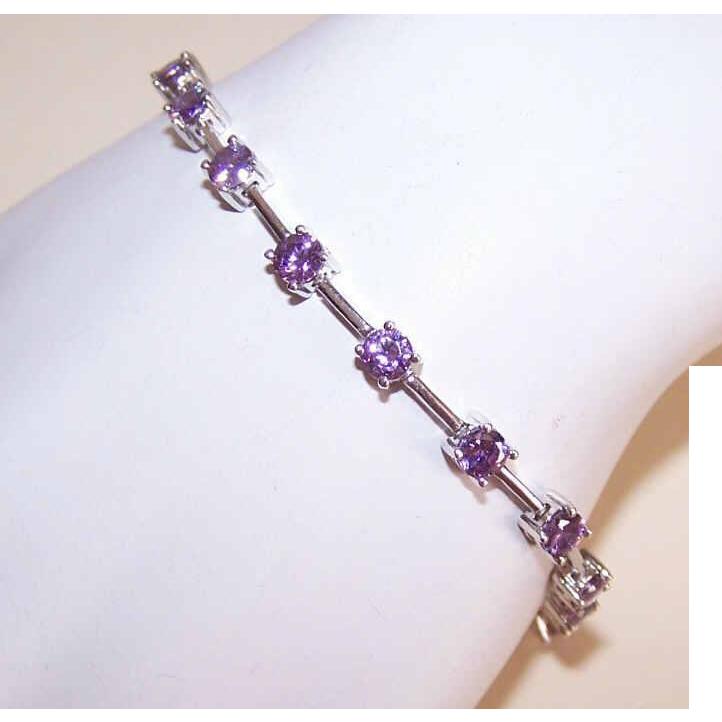 Vintage STERLING SILVER & Lavender Rhinestone Line Bracelet!