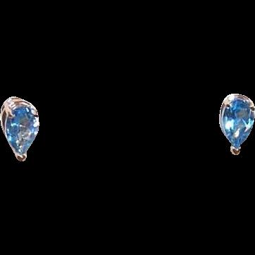 Vintage 14K Gold & 1CT TW Pear-Shaped Aquamarine Earrings!