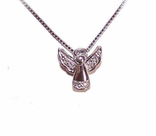 Tiny Vintage 10K Gold & Diamond GUARDIAN ANGEL Pendant!