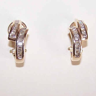 GORGEOUS Estate 14K Gold & Diamond Hoop Earrings!