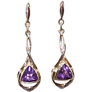 Vintage ESTATE FRESH 14K Gold & Amethyst Drop Earrings!