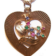 Jeweled Beauty! Vintage 14K Gold, Ruby, Sapphire & Emerald Heart Charm/Pendant!