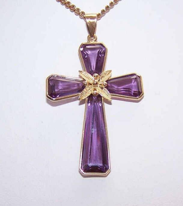 Lovely VINTAGE 18K Gold & Amethyst Cross Pendant!