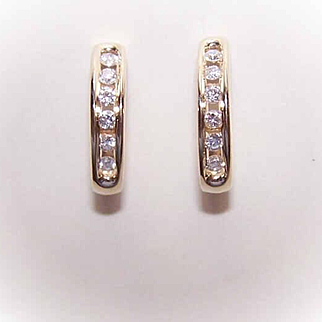 WoW! Vintage 14K Gold & .40CT TW Diamond Half-Hoop Earrings!