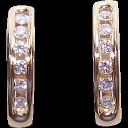 WoW! Vintage 14K Gold & .40CT TW Diamond Half-Hoop Earrings!